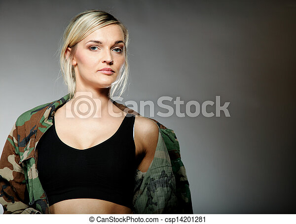 woman in military clothes, army girl - csp14201281