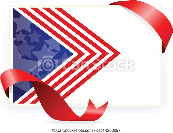 American flag , Business cards with - csp14203097