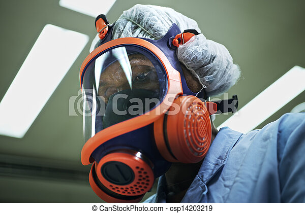 Medicine and science, and pharmaceutical laboratory with scientist wearing mask and looking at camera - csp14203219