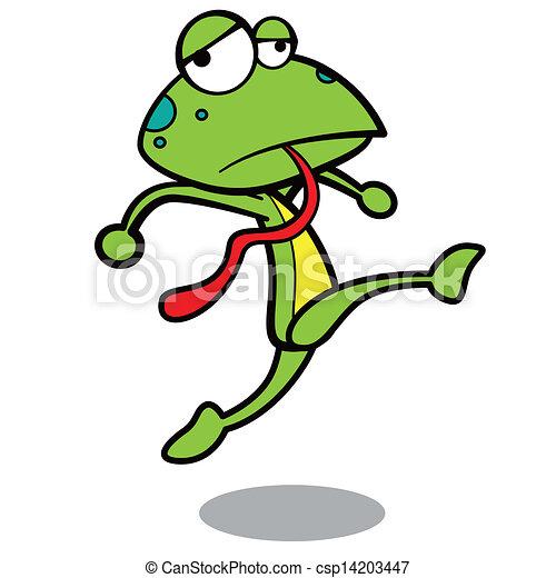 矢量-幽默, 卡通漫画, 青蛙, 跑, 白色, 背景
