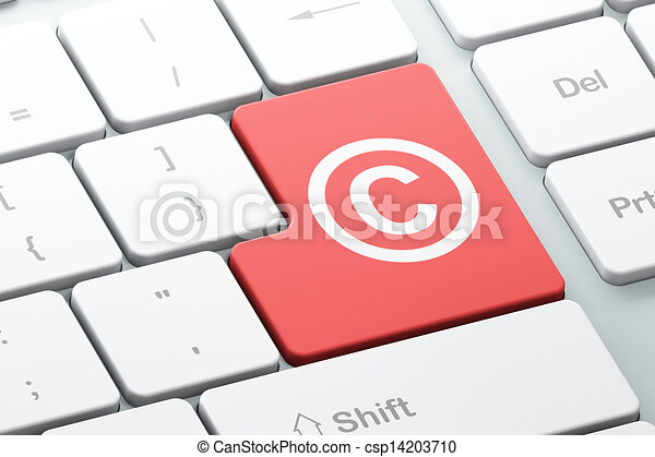 Law concept: Copyright on computer keyboard background - csp14203710