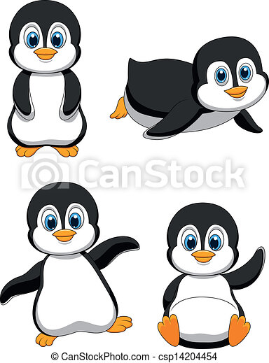 Clipart Vector of Cute penguin cartoon - Vector illustration of Cute ...