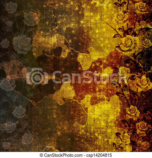 Grunge ancient used paper in scrapbooking style with roses - csp14204815