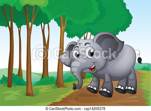 Forest Elephant Drawing an Elephant Smiling at The