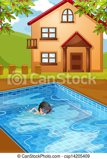 Vector clipart of a kid swimming at the pool in the for Swimming pool drawing