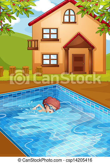 Vector Clip Art Of A Boy Swimming At The Pool In His