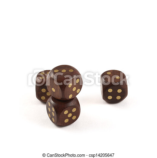 Gambling wooden dice isolated - csp14205647