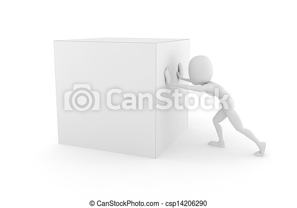 3d man pushing a cube, on white background - csp14206290
