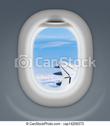 airplane window with wing and cloudy sky behind - csp14206373