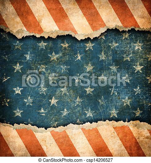 Grunge ripped paper USA flag pattern - csp14206527