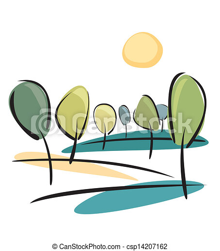 Vector park view with sun and trees - csp14207162