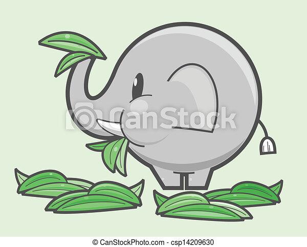 Elephant Eating Grass Elephant Eating Green Grass
