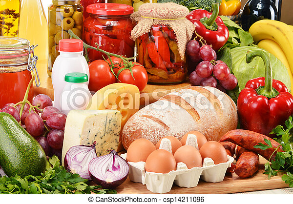 Assorted grocery products including vegetables fruits wine bread dairy and meat - csp14211096