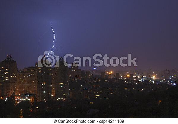 Lightening strikes a city at night in Kiev