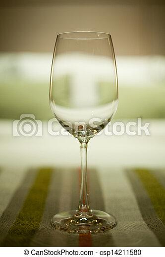 Wine glasses in luxury hotel interior - csp14211580