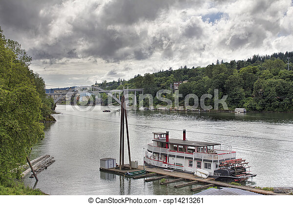 Historic Sternwheeler Docked Along Willamette River - csp14213261