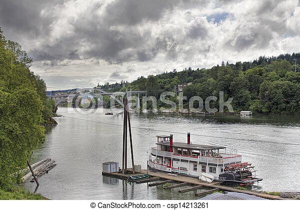 Historic Sternwheeler Docked Along Willamette River - csp14213261
