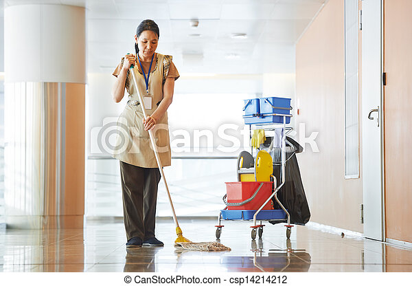 Woman cleaning building hall - csp14214212