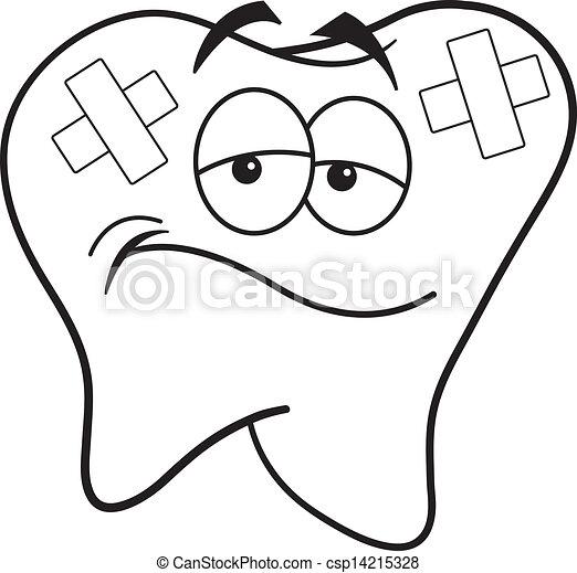 Illustration vecteur de band dessin anim dent noir - Dessin de dent ...