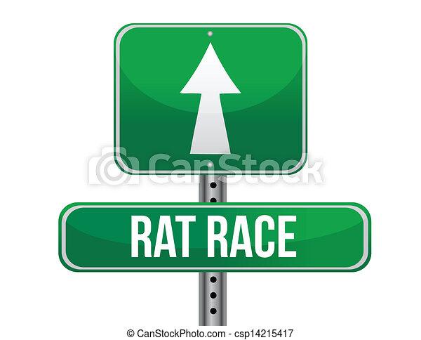 rat race road sign illustration design - csp14215417