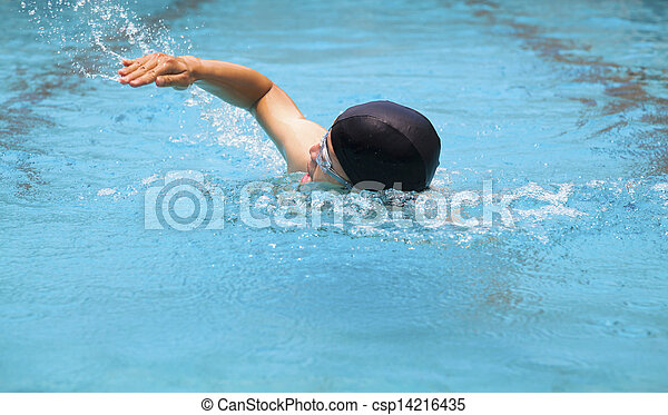 man swimmer swimming in the pool - csp14216435