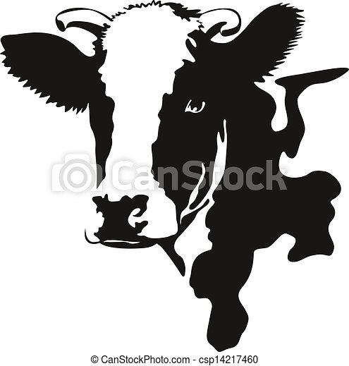 Clip Art Vector Of Vector Illustration Of A Cow Head