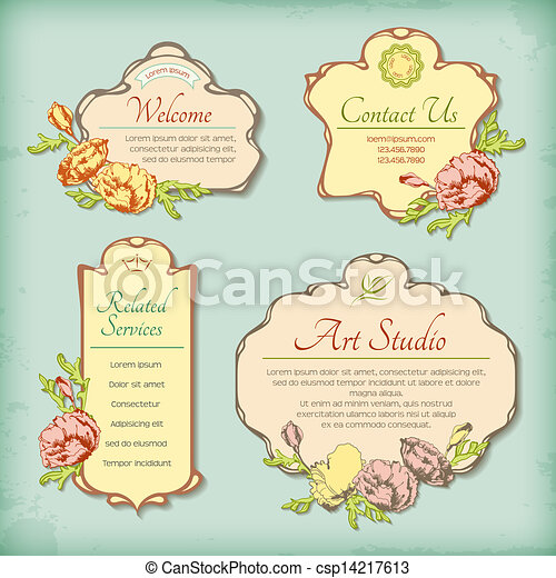 Set of vintage antique styled labels with flowers - csp14217613