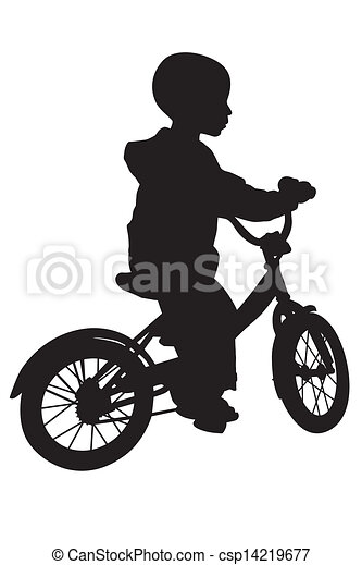 Boy and bicycle silhouette - csp14219677