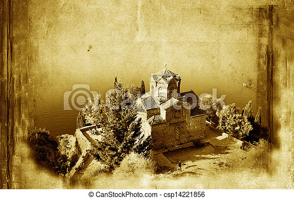 Church of St. John at Kaneo, and old paper grunge background - csp14221856