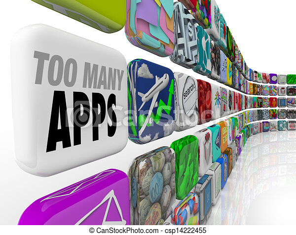Stock Illustrations of Too Many Apps Software Programs Oversupply ...