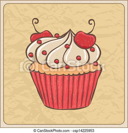 clipart vektor von kirschen cupcake hand gezeichnet sketchy cupcake auf csp14225953. Black Bedroom Furniture Sets. Home Design Ideas