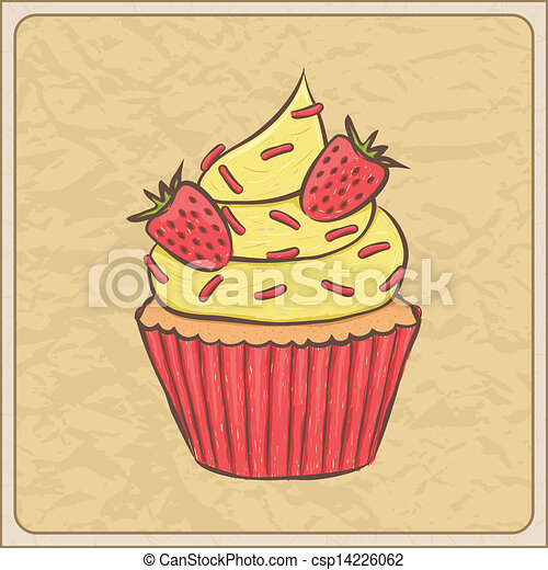 clip art vektor von cupcake karte hand gezeichnet sketchy cupcake csp14226062 suchen. Black Bedroom Furniture Sets. Home Design Ideas