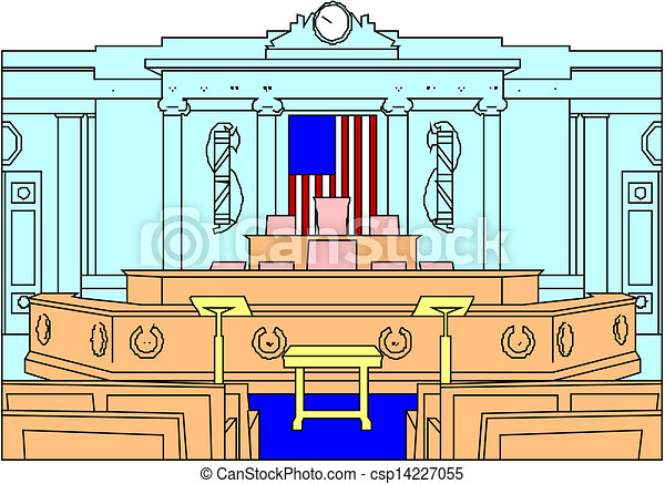 Clipart Vector of empty modern courtroom - interior of an ...