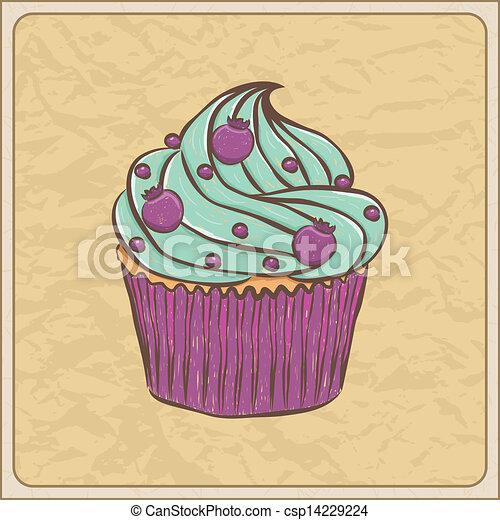 vektor illustration von karte cupcake hand gezeichnet sketchy cupcake auf a. Black Bedroom Furniture Sets. Home Design Ideas