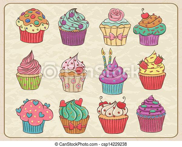 vektoren von cupcakes satz hand gezeichnet sketchy satz cupcakes csp14229238 suchen. Black Bedroom Furniture Sets. Home Design Ideas