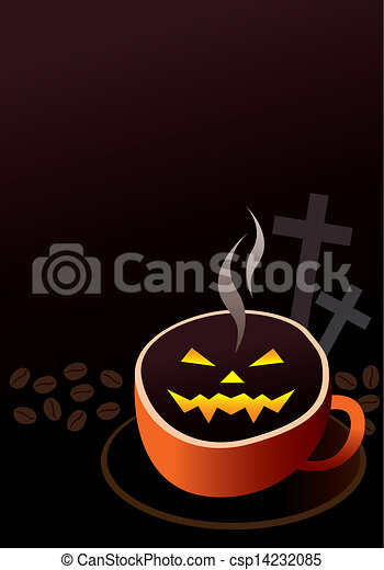 Vector of Coffee cup design for halloween - Coffee cup ...