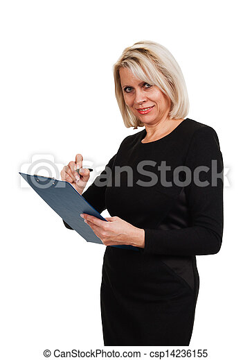 Portrait of a mature business woman with documents in hand - csp14236155