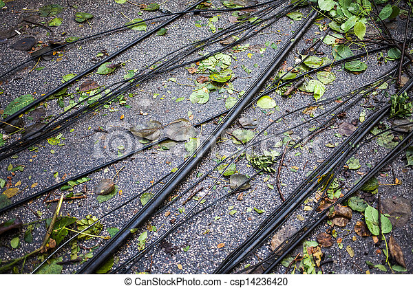 Electric power line on the road after disaster