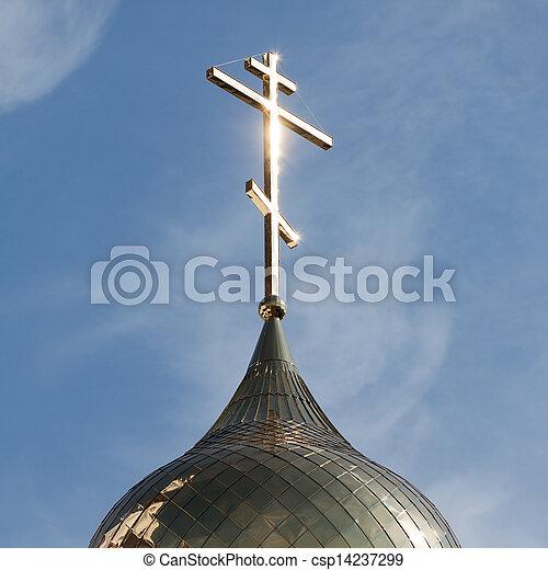 Religion cross on church dome - csp14237299