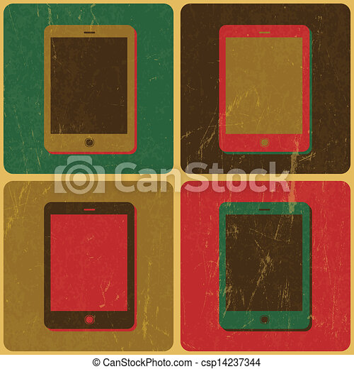 Smart Phone Poster, Pop-Art Styled, Vector - csp14237344