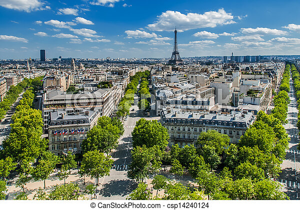 aerial view paris cityscape  France - csp14240124