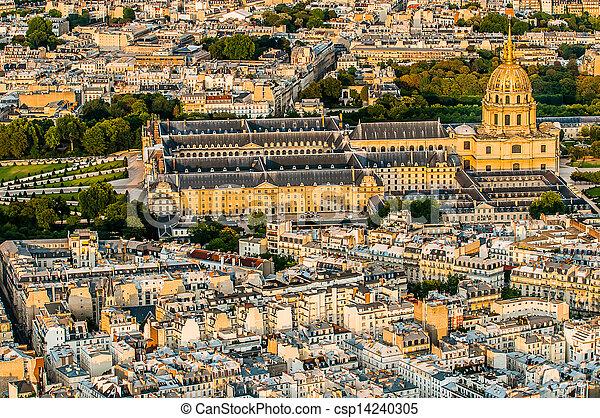 aerial view invalides paris cityscape  France - csp14240305