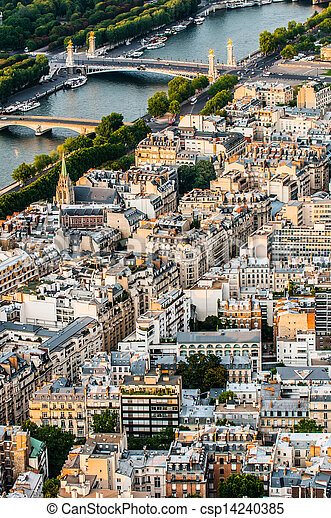 aerial view paris cityscape  France - csp14240385