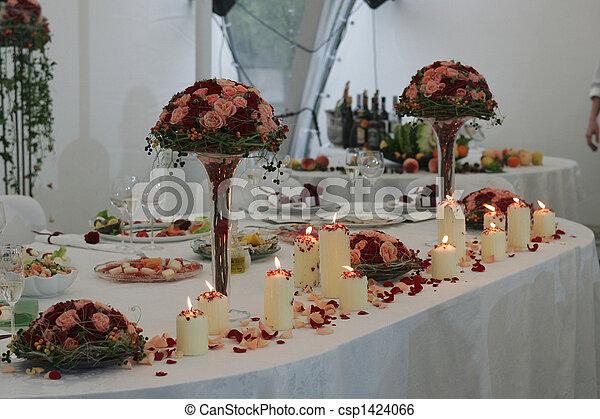 Head table at wedding reception - csp1424066