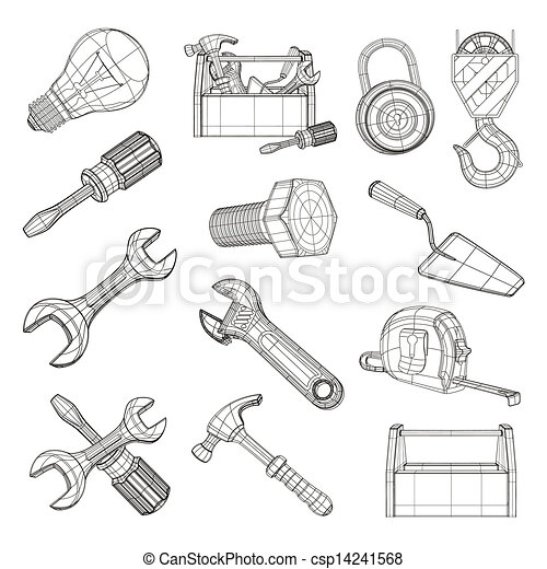 Clip Art Vector Of Drawing Tools Set Vector Csp14241568