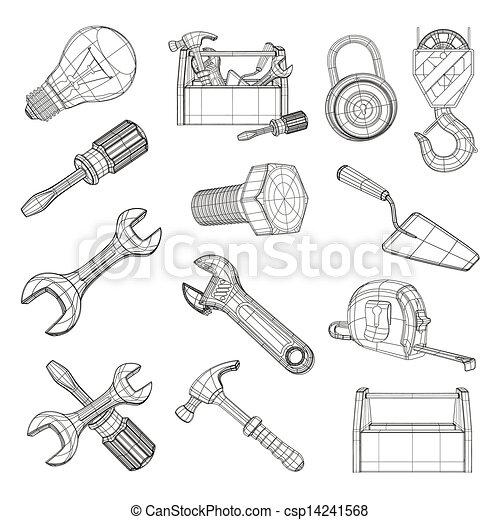 Drawing tools set, vector - csp14241568