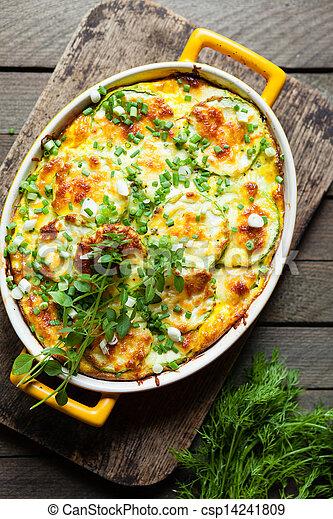 prato, queijo, assado, abobrinha - csp14241809