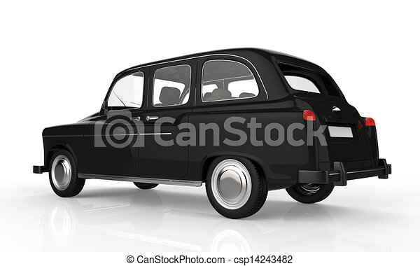 Stock Illustration of Black London Taxi isolated on white ...
