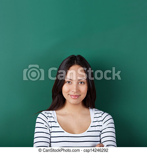 confident young woman in classroom - csp14246292