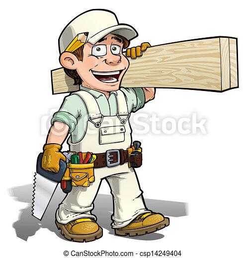 Illustration de bricoleur blanc charpentier cartoon - Bricoleur dessin ...